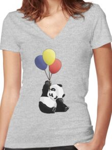 Panda's Happy Day Women's Fitted V-Neck T-Shirt