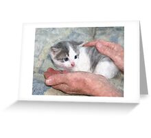 Kitten in Hands at a Farmstead in Romania Greeting Card