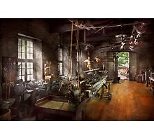 Machinist - Lathe - A long lathe Photographic Print