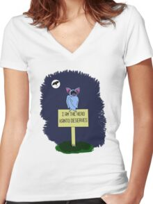 A Dark Night Women's Fitted V-Neck T-Shirt