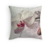Orchid on 1909 Vintage Postcard Throw Pillow
