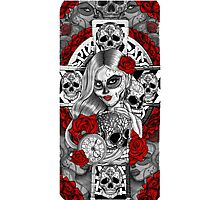 Day of the dead sugar skull celtic cross pocket watch mexican tattoo girl Photographic Print