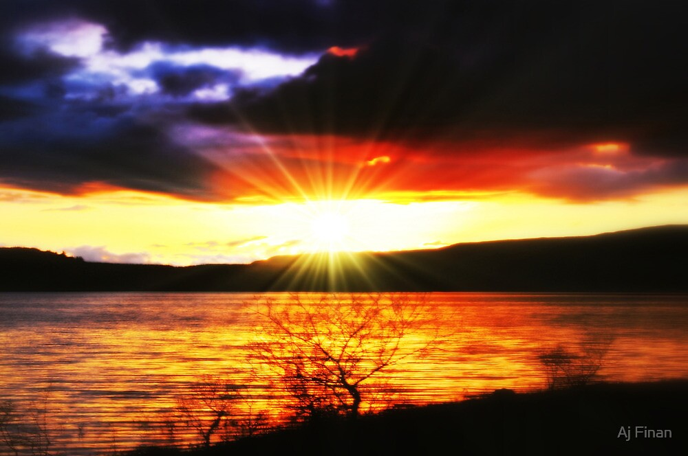 Sunset Over Carron Valley Reservoir. by Aj Finan
