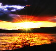 Sunset Over Carron Valley Reservoir. by Aj Finan