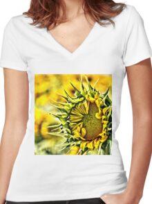 Baby Sunflower  Women's Fitted V-Neck T-Shirt