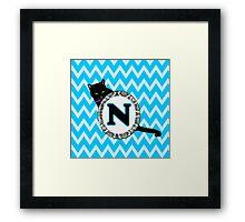N Cat Chevron Monogram Framed Print