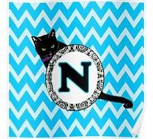 N Cat Chevron Monogram Poster
