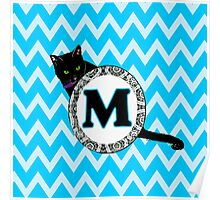M Cat Chevron Monogram Poster