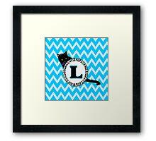 L Cat Chevron Monogram Framed Print