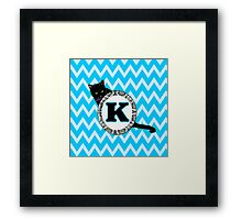 K Cat Chevron Monogram Framed Print