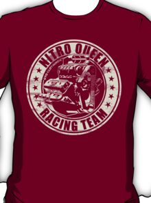 Nitro Queen Racing Team V8 Muscle Car | Aged White T-Shirt