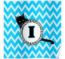 I Cat Chevron Monogram Poster
