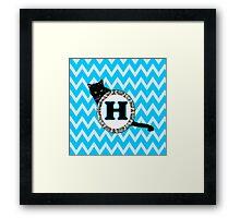 H Cat Chevron Monogram Framed Print