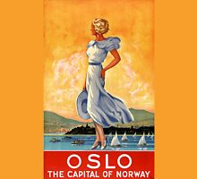 Oslo Norway Vintage Travel Poster Restored Womens Fitted T-Shirt