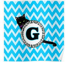 G Cat Chevron Monogram Poster
