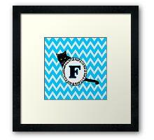 F Cat Chevron Monogram Framed Print