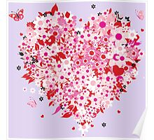 Beautiful floral heart Poster
