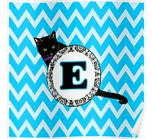 E Cat Chevron Monogram Poster