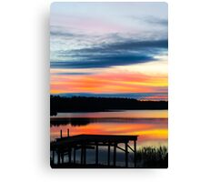 Dock Sunset on the Lake Canvas Print