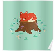 Fox Sleeping on Tree Stump in Forest Poster