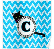 C Cat Chevron Monogram Poster