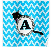 A Cat Chevron Monogram Poster