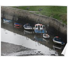 Boats and their reflection's at Seaton Sluice Poster