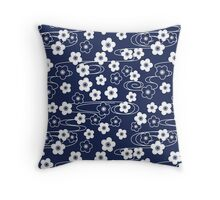 Japanese Blue Sakura Cherry Blossom Flowers Throw Pillow