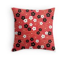 Japanese Red Sakura Cherry Blossom Flowers Throw Pillow