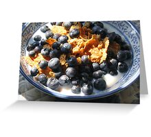 CEREAL WITH FRESH BLUEBERRIES Greeting Card