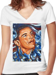 President Obama Women's Fitted V-Neck T-Shirt