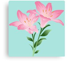 Pink watercolor flowers Canvas Print