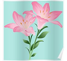 Pink watercolor flowers Poster