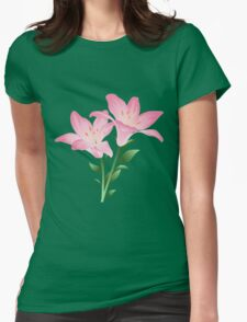 Pink watercolor flowers Womens Fitted T-Shirt