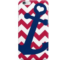 Nautical Red White and Blue Chevron Anchor iPhone Case/Skin