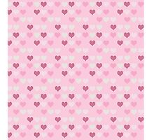 Cute Retro Pink Hearts Pattern Photographic Print