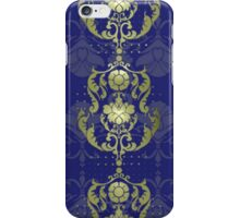 Damask flowers with blue and gold iPhone Case/Skin