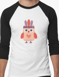 Hipster Owlet Purple Men's Baseball ¾ T-Shirt
