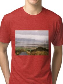 Lough Swilly with snow capped Donegal Hills - Donegal Ireland  Tri-blend T-Shirt