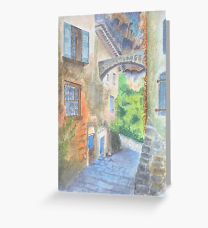 Cliff houses, Dordogne by John Rees Greeting Card