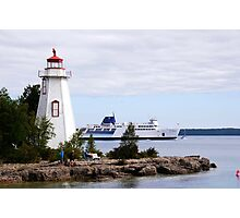 Tobermory Lighthouse and the MS Chi-Cheemaun Ferry Photographic Print
