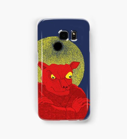 Red Cat Demon up to no good under a bad moon Samsung Galaxy Case/Skin