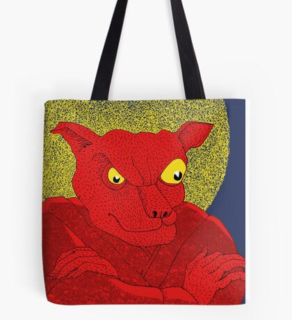 Red Cat Demon up to no good under a bad moon Tote Bag