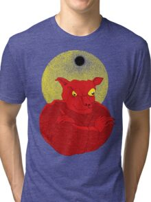 Red Cat Demon up to no good under a bad moon Tri-blend T-Shirt