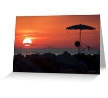 Sunset with mustache Greeting Card