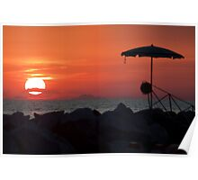 Sunset with mustache Poster