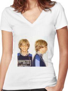 Bill Gates Mugshot Women's Fitted V-Neck T-Shirt