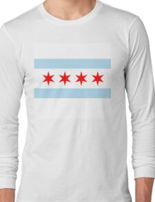Patriotic Chicago Flag Long Sleeve T-Shirt