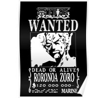 Wanted Bounty Zorro - White on Black Poster