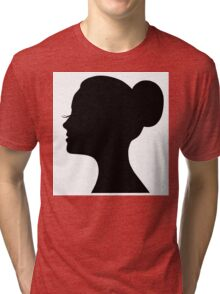 Woman's face with long lashes and neat bun Tri-blend T-Shirt